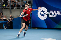 10th January 2020; Sydney Olympic Park Tennis Centre, Sydney, New South Wales, Australia; ATP Cup Australia, Sydney, Day 8; Belgium versus Spain;David Goffin of Belgium versus Rafael Nadal of Spain; David Goffin of Belgium hits a backhand to Rafael Nadal of Spain - Editorial Use