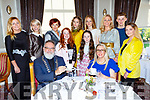 Rev Simon Lumby and Ciara Irwin-O'Shea enjoying a cuppa  with models l-r: Clodagh Irwin-Owens, Karen Griffin, Eileen Kennedy, Abigail O'Shea, Jemma Key, Síofra Foley, Jacquelyn Owens, Emer O'Shea, Rossa Foley and Lily Foley  at the Killlarney Rotary club charity fashion afternoon tea show in the Great Southern Hotel on Saturday