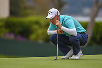 Emiliano Grillo (ARG) lines up his putt on 14 during round 1 of the 2019 US Open, Pebble Beach Golf Links, Monterrey, California, USA. 6/13/2019.<br /> Picture: Golffile | Ken Murray<br /> <br /> All photo usage must carry mandatory copyright credit (© Golffile | Ken Murray)