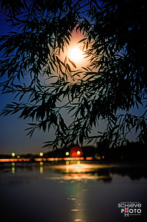 Moon over South Bay in Madison, Wisconsin.