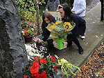 Children from Donore national school lay a wreath at the memorial for Bettina Poeschel at Donore. Photo: Colin Bell/pressphotos.ie