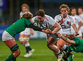 1st February 2019, Energia Park, Dublin, Ireland; Womens Six Nations rugby, Ireland versus England; Hannah Botterman (England) charges in to the tackle of Nichola Fryday (Ireland)