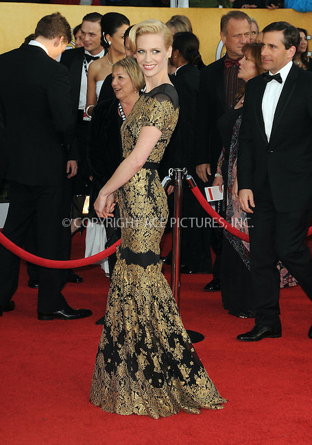 WWW.ACEPIXS.COM . . . . . ....January 30 2011, Los Angeles....January Jones arriving at the 17th Annual Screen Actors Guild Awards held at The Shrine Auditorium on January 30, 2011 in Los Angeles, CA....Please byline: PETER WEST - ACEPIXS.COM....Ace Pictures, Inc:  ..(212) 243-8787 or (646) 679 0430..e-mail: picturedesk@acepixs.com..web: http://www.acepixs.com