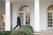 United States President Barack Obama walks on the colonnade after leaving the Oval Office for the last time as President, in Washington, D.C. on January 20, 2017. Later today President-Elect Donald Trump will be sworn-in as the 45th President.  <br /> Credit: Kevin Dietsch / Pool via CNP
