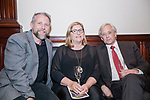 Waterbury, CT-22, September 2017-092217CM09 Social Moments from left--- Robert Burns, director at the Mattatuck Museum with Jack and Pam Baker of Warren are photographed during the Ninth Annual Brass Button Awards at the Mattatuck Museum in Waterbury.   Christopher Massa Republican-American