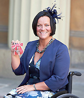 27 October 2016 - London, England - Martine Wiltshire pose for a photograph after receiving her Member of the Order of the British Empire MBE at Buckingham Palace in London. Photo Credit: Alpha Press/AdMedia