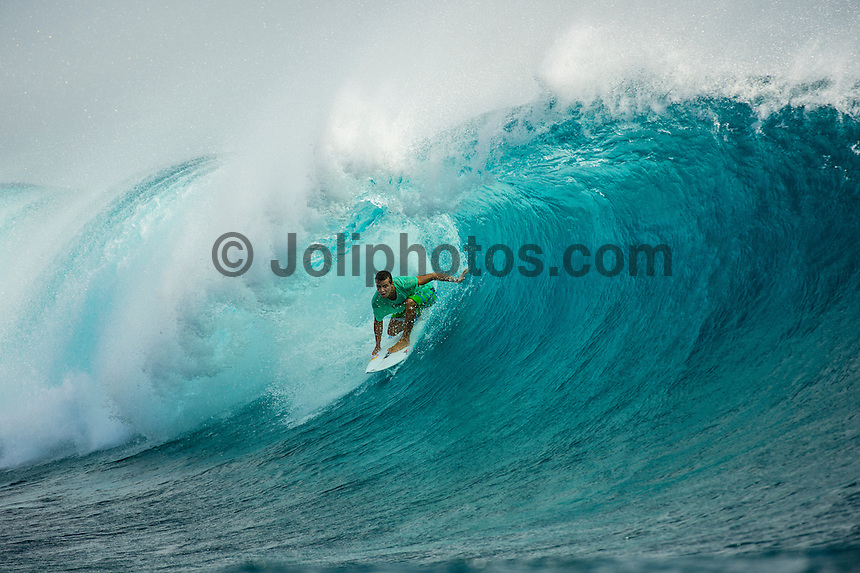 CLOUDBREAK, Namotu Island/Fiji (Saturday, June 8, 2013) - Julian Wilson (AUS) free surfing at Cloudbreak after the contest was called off. After monitoring conditions at Cloudbreak throughout the morning, event officials at the Volcom Fiji Pro  called competition off for  the day. <br /> Stop No. 4 of 10 on the ASP World Championship Tour (WCT), the Volcom Fiji Pro has enjoyed flawless conditions at both Cloudbreak and Restaurants and the current forecast is showing signs of more excellent surf to come.<br /> <br /> ?We spent some time watching Cloudbreak this morning, but conditions were not consistent enough to call the event back on,? Rich Porta, ASP International Head Judge said. ?Conditions look really good for the coming days so we'll be patient and wait for better waves to restart competition.? <br />  Photo: joliphotos.com