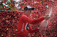 Giacomo Nizzolo (ITA/Trek Factory Racing) celebrating his 2015 Giro maglia rossa (point jersey) victory<br /> <br /> Giro d'Italia 2015<br /> final stage 21: Torino - Milano (178km)