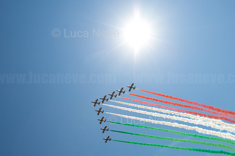"Rome, 02/06/2019. Today, Italy celebrated the annual ""Festa Della Repubblica"" (Republic Day, 1.). The 73rd Anniversary of the Italian Republic (*) was marked with the ""Raising the Flag Ceremony"" and the tribute to the Sacello del Milite Ignoto (Unknown Soldier) at the Altare della Patria ""Vittoriano"" (2.) by the President of the Italian Republic Sergio Mattarella, followed by the traditional army, veterans and civilians parade along Via Dei Fori Imperiali. This year, the President of the Republic was accompanied by the Defence Minister Elisabetta Trenta, the Italian Prime Minister Giuseppe Conte, the Presidents of the two Chambers of the Parliament, Roberto Fico and Maria Elisabetta Alberti Casellati, several members of the Italian Government, political leaders, senior officers of the Armed Forces and representatives of the Civilian Organizations. At the end of the events the Frecce Tricolori, the Italian Aerobatic Team, coloured the sky over Rome with the Tricolore (Tricolour: Green, White, Red) of the Italian Flag. The theme for this year's event was inclusiveness. <br /> <br /> Footnotes and Links:<br /> (*) The Referendum was held on 2 June 1946 and it marked the decision made by the Italian people to adopt the Republic as the new institutional form for the Country. <br /> 1. http://bit.do/eT8By (ITA) & http://bit.do/eT8Bv (ENG) at https://www.difesa.it/<br /> 2. http://bit.do/eT8BG (Wikipedia)"