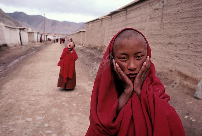Young lama. Xiahe, Gansu Province, China, April 1989.
