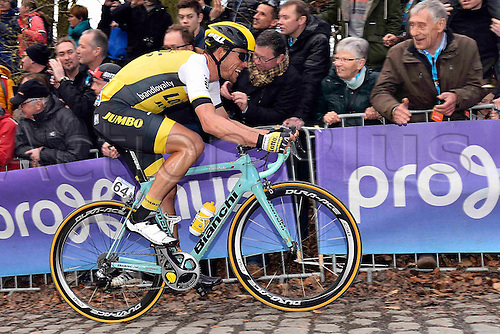 27.03.2016. Deinze, Belgium.  TJALLINGII Maarten (NED) Rider of TEAM LOTTO NL - JUMBO in action on the Kemmelberg during the Flanders Classics UCI World Tour 78nd Gent-Wevelgem cycling race with start in Deinze and finish in Wevelgem