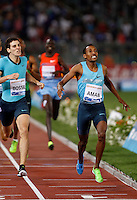 Golden Gala di atletica leggera allo stadio Olimpico di Roma, 6 giugno 2013.<br /> Ethiopia's Mohammed Aman, right, wins the men's 800 meters race at the Golden Gala IAAF athletics meeting at Rome's Olympic stadium, 6 June 2013.<br /> UPDATE IMAGES PRESS/Isabella Bonotto