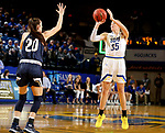 BROOKINGS, SD - NOVEMBER 21: South Dakota State Jackrabbits guard Sydney Stapleton #35 spots up for a jumper over Montana State Bobcats guard Madison Jackson #20 during their game Thursday night at Frost Arena in Brookings, SD.   (Photo by Dave Eggen/Inertia)