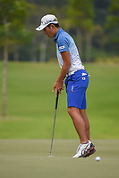 Keita NAKAJIMA (JPN) reacts after barely missing his putt on 16 during Rd 3 of the Asia-Pacific Amateur Championship, Sentosa Golf Club, Singapore. 10/6/2018.<br /> Picture: Golffile | Ken Murray<br /> <br /> <br /> All photo usage must carry mandatory copyright credit (© Golffile | Ken Murray)
