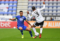 Wigan Athletic's Antonee Robinson battles with Fulham's Michael Hector<br /> <br /> Photographer Dave Howarth/CameraSport<br /> <br /> The EFL Sky Bet Championship - Wigan Athletic v Fulham - Wednesday July 22nd 2020 - DW Stadium - Wigan<br /> <br /> World Copyright © 2020 CameraSport. All rights reserved. 43 Linden Ave. Countesthorpe. Leicester. England. LE8 5PG - Tel: +44 (0) 116 277 4147 - admin@camerasport.com - www.camerasport.com