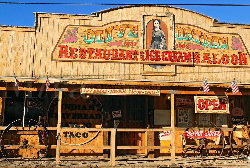 The Olive Oatman Restaurant and Saloon, Historic Route 66, and the town Oatman, Arizona.