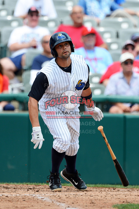 Trenton Thunder outfielder Shane Brown #17 during a game against the Reading Fightin Phils on July 8, 2013 at Arm & Hammer Park in Trenton, New Jersey.  Trenton defeated Reading 10-6.  (Mike Janes/Four Seam Images)