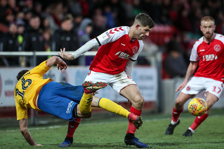 Fleetwood Town's Ched Evans competing with Charlton Athletic's Ben Purrington  <br /> <br /> Photographer Andrew Kearns/CameraSport<br /> <br /> The EFL Sky Bet League One - Fleetwood Town v Charlton Athletic - Saturday 2nd February 2019 - Highbury Stadium - Fleetwood<br /> <br /> World Copyright © 2019 CameraSport. All rights reserved. 43 Linden Ave. Countesthorpe. Leicester. England. LE8 5PG - Tel: +44 (0) 116 277 4147 - admin@camerasport.com - www.camerasport.com