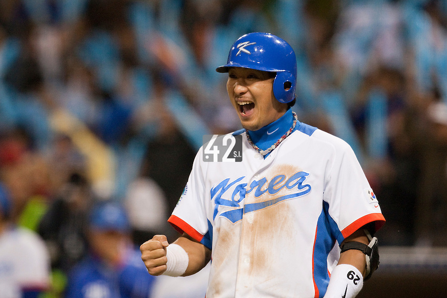 19 March 2009: #29 Taek Keun Lee of Korea reacts as Bum Ho Lee scores during the 2009 World Baseball Classic Pool 1 game 6 at Petco Park in San Diego, California, USA. Japan wins 6-2 over Korea.