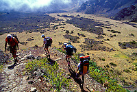 Four hikers backpacking through Haleakala National park, Maui