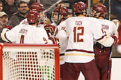 Teddy Doherty (BC - 4), Zach Sanford (BC - 24), Colin White (BC - 18), Alex Tuch (BC - 12), Ian McCoshen (BC - 3) - The Boston College Eagles defeated the Harvard University Crimson 3-2 in the opening round of the Beanpot on Monday, February 1, 2016, at TD Garden in Boston, Massachusetts.