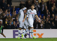 Son Heung-Min of Tottenham Hotspur celebrates his first goal during the UEFA Europa League match between Tottenham Hotspur and Qarabag FK at White Hart Lane, London, England on 17 September 2015. Photo by Andy Rowland.