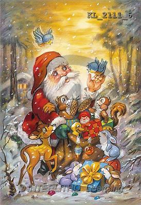 Interlitho, CHRISTMAS SANTA, SNOWMAN, paintings, santa, forest, animal(KL2111/6,#X#) Weihnachtsmänner, Schneemänner, Weihnachen, Papá Noel, muñecos de nieve, Navidad, illustrations, pinturas