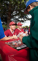 STANFORD, CA - April 23, 2011: Dean McArdle of Stanford baseball talks to a fan during an autograph signing after Stanford's game against UCLA at Sunken Diamond. Stanford won 5-4.