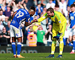 Jaques Maghoma of Birmingham City celebrates the win with David Stockdale of Birmingham City during the championship match at St Andrews Stadium, Birmingham. Picture date 21st April 2018. Picture credit should read: Simon Bellis/Sportimage