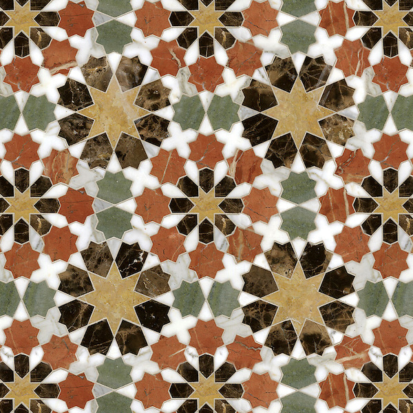 Granada Grande, a waterjet stone mosaic, shown in polished Emperador Dark, Verde Luna, Rosa Verona, Calacatta Tia, and Giallo Reale, is part of the Miraflores Collection by Paul Schatz for New Ravenna.