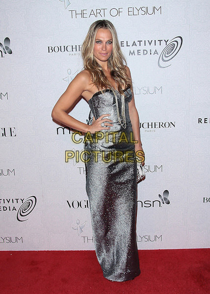 MOLLY SIMS .Attending The Art of Elysium's 3rd Annual Black Tie Charity Gala Heaven.at the Beverly Hilton, Beverly Hills, CA, USA, January 16th 2010..arrivals  full length strapless grey gray silver long maxi dress hand on hip necklaces clutch bag .CAP/ADM/TC.©T.Conrad/Admedia/Capital Pictures