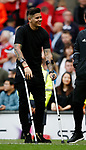 Marcos Rojo of Manchester United on crutches during the English Premier League match at the Old Trafford Stadium, Manchester. Picture date: May 21st 2017. Pic credit should read: Simon Bellis/Sportimage