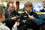 St Johnstone v Eskisehirspor....18.07.12  Uefa Cup Qualifyer.Murray Davidson being interviewed at Edinburgh Airport.Picture by Graeme Hart..Copyright Perthshire Picture Agency.Tel: 01738 623350  Mobile: 07990 594431
