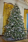 A large Christmas tree on the south wall of the East Room as part of the 2015 White House Christmas decorations in the White House in Washington, DC on Wednesday, December 2, 2015.<br /> Credit: Ron Sachs / CNP