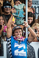 Pipeline, North Shore of Oahu, Hawaii Friday December 19 2014) Julain Wilson (AUS) the 2014 Pipe Masters Champion and the Vans Triple Crown of Surfing Champion- The final stop of the 2014  World Championship Tour, the Billabong Pipe Masters in Memory of Andy Irons, was  ccompleted today in NW double overhead surf. <br /> Gabriel Medina (BRA) became the first ever Brazilian World Champion after both rival contenders , Kelly Slater (USA) and Mick Fanning (AUS) were eliminated from the contest. Medina went onto finish 2nd overall behind Julian Wilson (AUS). <br /> In the overlapping heat format Wilson surf three consequent heats and still had enough entry to take out the 30 minute final.<br /> By winning the final Wilson also won the covered Vans Triple Crown of Surfing for best overall performance through the whole Triple Crown.<br /> <br /> The Billabong Pipe Masters in Memory of Andy Irons will determine this year&rsquo;s world surfing champion as well as those who qualify for the elite tour in 2015. As the third and final stop on the Vans Triple Crown of Surfing Series  the event will also determine the winner of the revered three-event leg.<br /> <br />  Photo: joliphotos.com