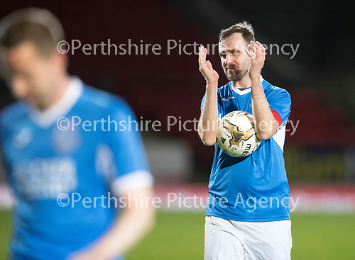 Dave Mackay Testimonial: St Johnstone v Dundee&hellip;06.10.17&hellip;  McDiarmid Park&hellip; <br />Dave Mackay applauds the fans<br />Picture by Graeme Hart. <br />Copyright Perthshire Picture Agency<br />Tel: 01738 623350  Mobile: 07990 594431