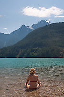 Olivia Takes the Sun at Diablo Lake, North Cascades National Park, Washington, US