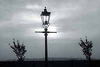 silhouette of old gas street lamp in Sheffield