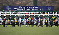 DEL MAR, CA - NOVEMBER 03: The field breaks from the gate in the Breeders' Cup Juvenile Fillies Turf on Day 1 of the 2017 Breeders' Cup World Championships at Del Mar Thoroughbred Club on November 3, 2017 in Del Mar, California. (Photo by Alex Evers/Eclipse Sportswire/Breeders Cup)