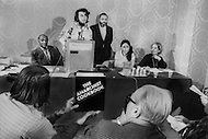 "Hotel Americana, New York City, USA. February 19th, 1971. William Powell, the author of ""The Anarchist Cookbook"", during the press conference presenting his book."