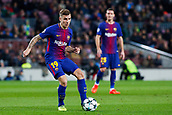 5th December 2017, Camp Nou, Barcelona, Spain; UEFA Champions League football, FC Barcelona versus Sporting Lisbon; Lucas Digne of FC Barcelona passes the ball