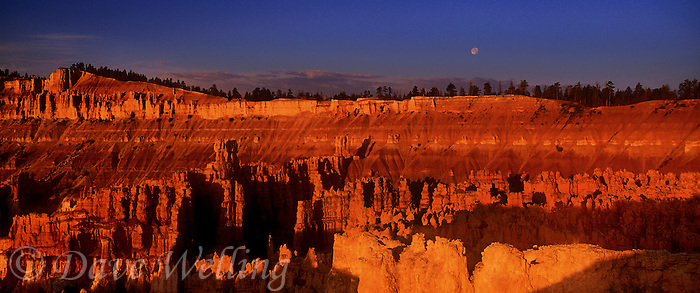 904000008 a rising full moon looks down on hoodoos in bryce canyon national park turned blood red by the setting sun