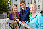 Gaelcolaiste Chiarrai Leaving Cert students AIlieann NicGearailt, Breandan Cabal, Alana Ni Chonchuir from Tralee who collected their results on Wednesday.
