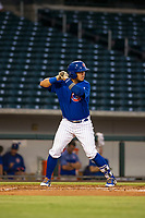 AZL Cubs first baseman Kevin Zamudio (4) bats during a game against the AZL Athletics on August 9, 2017 at Sloan Park in Mesa, Arizona. AZL Athletics defeated the AZL Cubs 7-2. (Zachary Lucy/Four Seam Images)