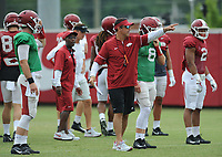 NWA Democrat-Gazette/ANDY SHUPE<br /> Arkansas offensive coordinator Dan Enos directs his players Tuesday, Aug. 1, 2017, during practice at the university's practice field in Fayetteville. Visit nwadg.com/photos to see more photographs from the day's practice.