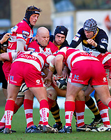 Will James passes the ball back to prop Pierre Capdevielle as a maul forms. Guinness Premiership match between London Wasps and Gloucester on March 7, 2010 at Adams Park in High Wycombe, England. [Mandatory Credit: Patrick Khachfe/Onside Images]