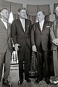 United States President John F. Kennedy meets Mayor Richard J. Daley (Democrat of Chicago) and officials from Illinois in the Oval Office of the White House in Washington, DC on July 11, 1962.  From left to right: US Representative Sidney R. Yates (Democrat of Illinois); President Kennedy; Mayor Daley; US Representative Thomas J. O'Brien (Democrat of Illinois).<br /> Credit: Arnie Sachs / CNP