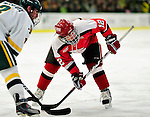 12 December 2009: St. Lawrence University Saints' forward Max Mobley, a Sophomore from Glendale, AZ, faces off against the University of Vermont Catamounts at Gutterson Fieldhouse in Burlington, Vermont. The Catamounts shut out their former ECAC rival Saints 3-0. Mandatory Credit: Ed Wolfstein Photo