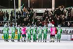 Stockholm 2013-12-30 Bandy Elitserien Hammarby IF - Broberg S&ouml;derhamn IF :  <br /> Hammarby spelare jublar med Hammarby supportrar efter matchen mot Broberg <br /> (Foto: Kenta J&ouml;nsson) Nyckelord:  jubel gl&auml;dje lycka glad happy supporter fans publik supporters