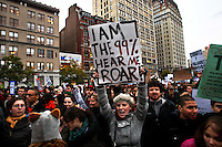 "UNITED STATES, NEW YORK,  November 17, 2011.Protesters affiliated with the Occupy Wall Street movement, march during a ""day of action"" in New York November 17, 2011. VIEWpress /Kena Betancur..Protesters across the country demonstrated en masse Thursday, snarling rush-hour traffic in several major cities and taking aim at banks as part of a national ""day of action"" to mark the two-month milestone of the Occupy Wall Street movement..Local media report.."